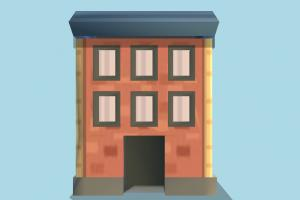 Building house, home, building, city, build, apartment, flat, residence, domicile, structure, lowpoly