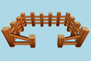Wooden Fence fence, wooden, farm, enclosure, build, structure, lowpoly, cartoon