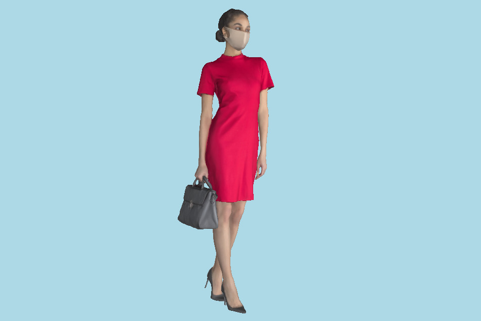 Beautiful Woman Shopping in a Little Red Dress 195 3d model