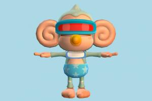 Baby Monkey monkey, ape, champangi, animal-character, character, cartoon, vr, headset