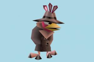 Spy Chicken spy, chicken, character, cartoon, lowpoly