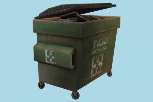 Dumpster trash, garbage, dumpster, recycling, green, prop, urban, rusty, refuse, alleyway