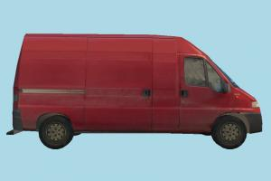 Van Red Low-poly van, bus, vehicle, truck, carriage, car, metro, transit, transport, red, low-poly