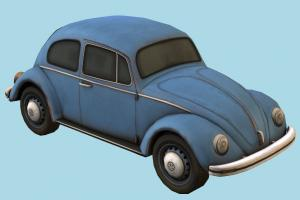 Volkswagen Beetle beetle, vw, volkswagen, bug, retro, car, vehicle, transport, carriage, lowpoly