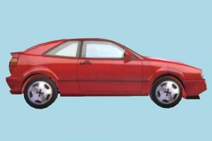Car Red Low-poly car, truck, vehicle, transport, carriage, red, low-poly
