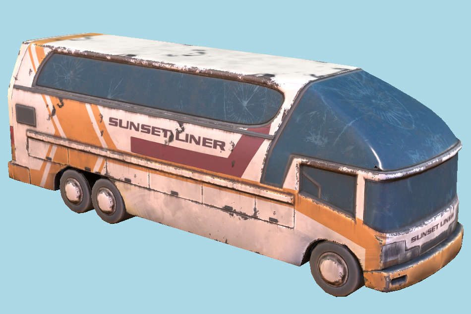 Coach Ruined Bus 3d model