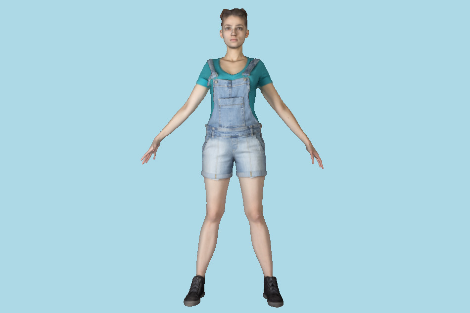Pretty Girl in Denim in A-pose 191 3d model
