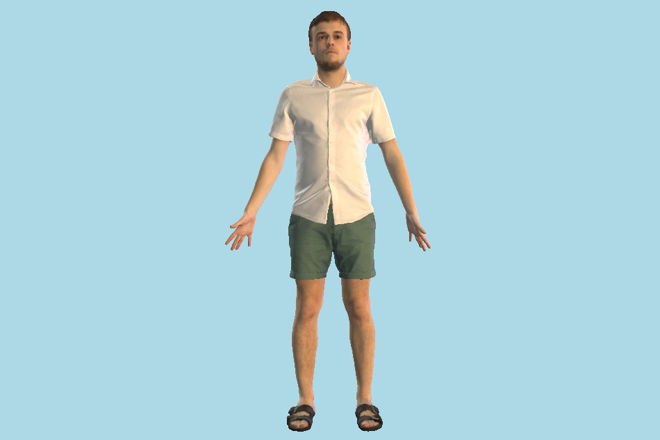 Casual Man Summer Shorts 3d model