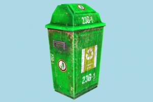 Trash Can trash, garbage, dumpster, recycling, green, rusty, refuse, can, street, object