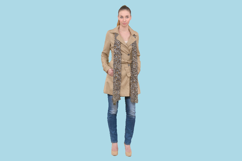 Woman Girl in Beige Coat and Scarf 3d model