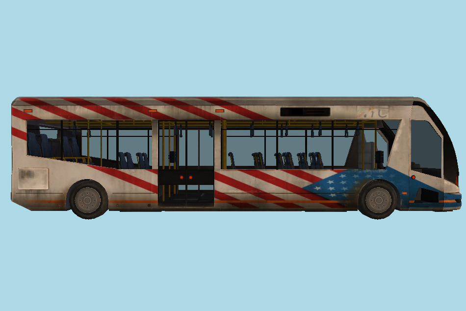 Bus with interior details 3d model