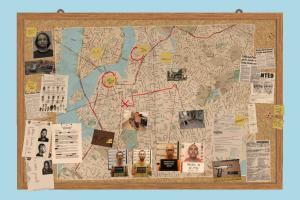 Map Pinboard map, whiteboard, pin, police, case, department, notebook, jail, detective, investigation, sticker, notice, corkboard, board