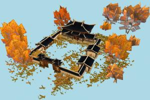 Chinese House garden, japanese, house, chinese, castle, country, village, home, building, build, residence, domicile, structure