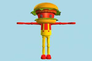 Chibi-Robo Burger chibi-robo, hero, character, cartoon, burger, sandwish
